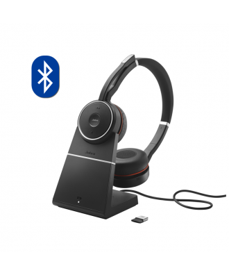 Jabra Evolve 75 UC STEREO Bluetooth draadloze headset (incl. stand)